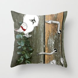 Theo and the Worm Throw Pillow
