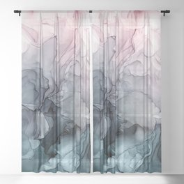 Blush and Payne's Grey Flowing Abstract Painting Sheer Curtain
