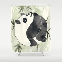 yin yang Shower Curtains featuring Yin Yang by Sah Matsui