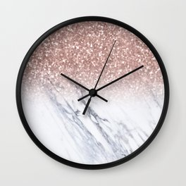She Sparkles Rose Gold Marble Luxe Wall Clock