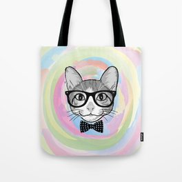 Black White Cat Hipster and the Watercolor Rainbow Circle Tote Bag