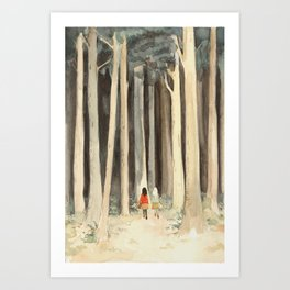 Snow & Rose in the Forest Art Print