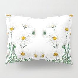 white Margaret daisy watercolor Pillow Sham