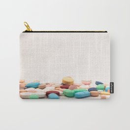 Numerous medicines Medications in the form of tablets. Colored pills on a white background. Carry-All Pouch