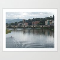 rowing Art Prints featuring Rowing towards the bridge by Matthew Booth