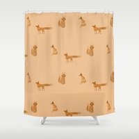 foxes Shower Curtains featuring Foxes by Nichts