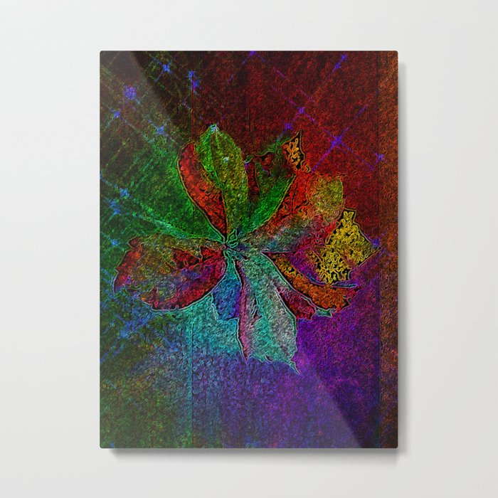 Abstract fall leaves in multicolor palette  Metal Print