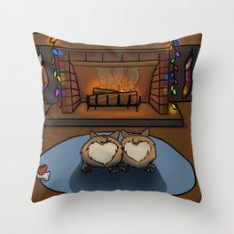 Cozy Corgi Christmas Throw Pillow