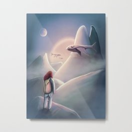 Girl Hiking On The Planet Of The Flying Whales Metal Print
