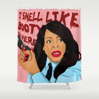booty Shower Curtains featuring Smell Like Booty by Fransisqo82