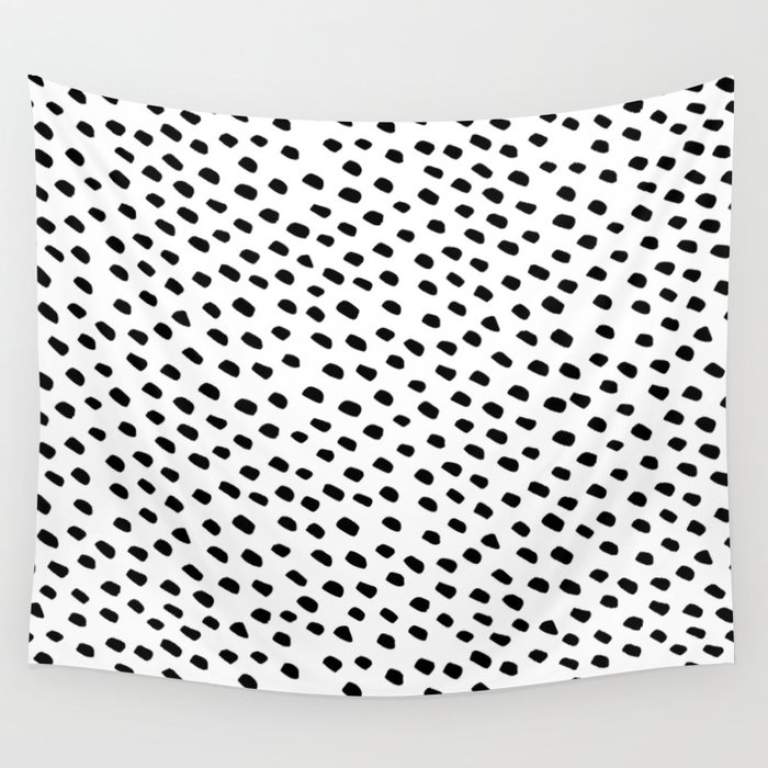 Brush Dot Pattern White Wall Tapestry