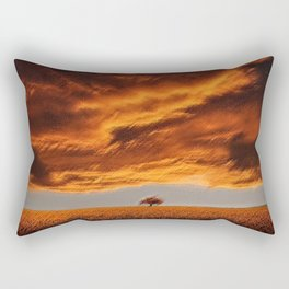 Rhode Island Tree and Timothy and Alfalfa Field Landscape Painting by Jeanpaul Ferro Rectangular Pillow