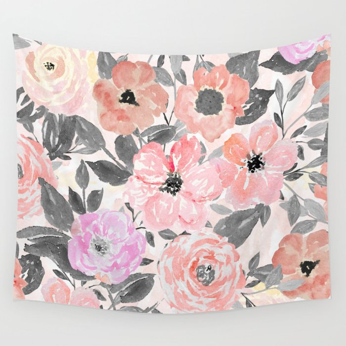 Elegant simple watercolor floral Wall Tapestry