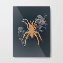 Gold Spider Exotic Tropical Collage by Black Jungle Metal Print