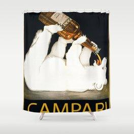 Vintage 1928 Campari Polar Bear Alcoholic Bitters Advertisement by Franz Laskoff Shower Curtain
