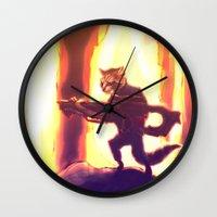 rocket raccoon Wall Clocks featuring Rocket Raccoon by Mimi JJ