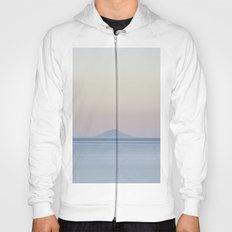 Island silhouette on horizon at sunset Hoody