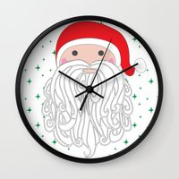 santa Wall Clocks featuring Santa by Doucette Designs