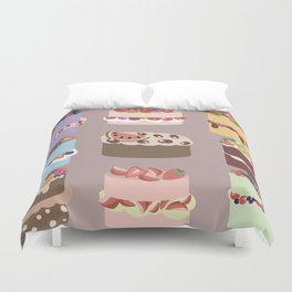 Set of delicious cakes with fruits and berries Duvet Cover