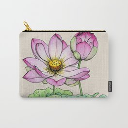 Botanical illustration lotus Carry-All Pouch