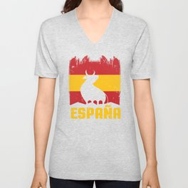 Espana print I Proud Spain Bull Viva ESPANA Gift Unisex V-Neck