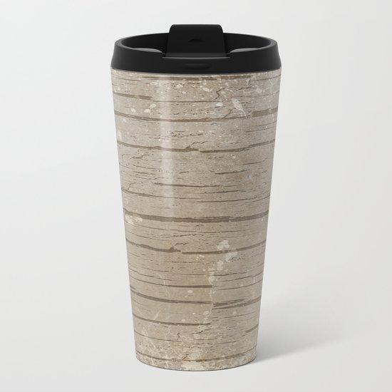 Nautical Driftwood Wood Grain Pattern Metal Travel Mug