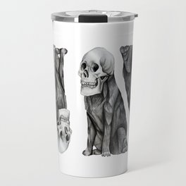 skullpug // A brutal pug wearing a human skull made in pencil Travel Mug