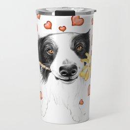 Border Collie And Hearts Travel Mug