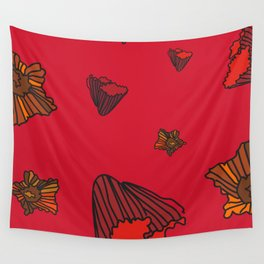 Snazzy Fall Flowers on Red Wall Tapestry