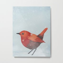 Little Red Robin in the Snow Metal Print