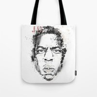 jay z Tote Bags featuring Jay Z by I AM DIMITRI