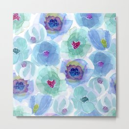 Head-Over-Heels Flowers - Blue Metal Print