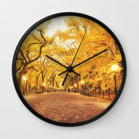 new york city Wall Clocks featuring New York City Autumn by Vivienne Gucwa