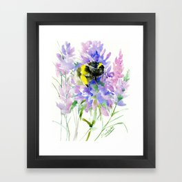 Bumblebee and Lavender Flowers, nature bee honey making decor Framed Art Print