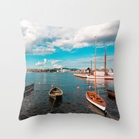 oslo Throw Pillows featuring Oslo Boats by Léon