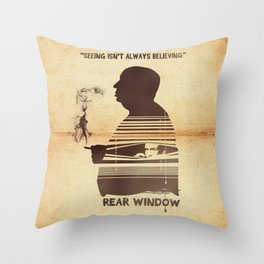 Rear Window Hitchcock silhouette art Throw Pillow