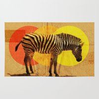 card Area & Throw Rugs featuring Zebra Card by Joshie