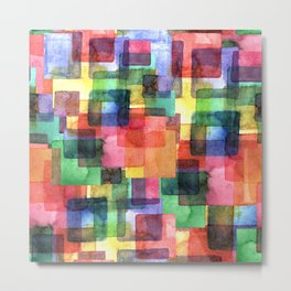 Watercolor blots plaid :) Metal Print