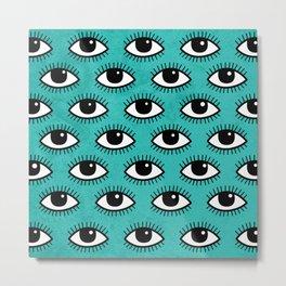 Eyes pattern on blue background Metal Print