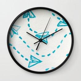 Paper Plane Print Wall Clock