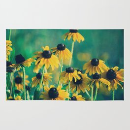 Emerald and Topaz Summer Botanical -- Prairie Coneflower / Mexican Hat Flower Rug