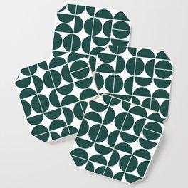 Mid Century Modern Geometric 04 Dark Green Coaster