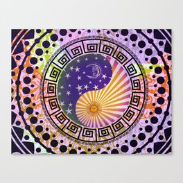 Vintage Sun Moon & Stars Yin & Yang Canvas Print