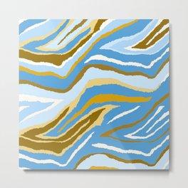 Animal Print Zebra Blue and Tan and Gray Pattern Metal Print