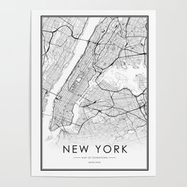 New York City Map United States White and Black Poster