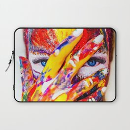 Women with paint on her hands and face Laptop Sleeve