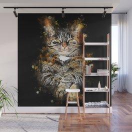 cat like a boss splatter watercolor Wall Mural