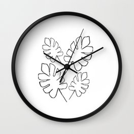 Philodendron Plant Illustration Wall Clock