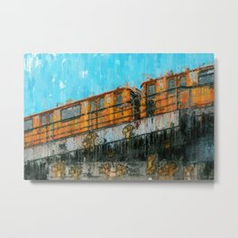 Berlin Subway train  Painting /  impressionism style Illustration  / abstract landmarks drawing Metal Print