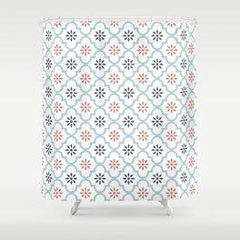 Red & Blue Mute Lattice Shower Curtain